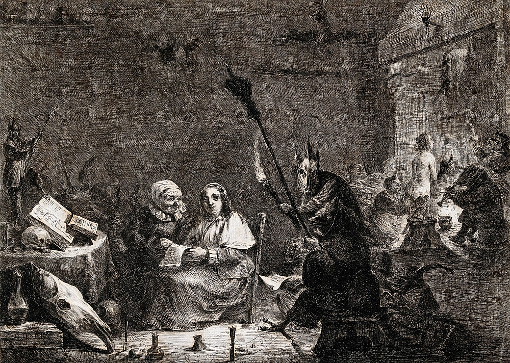 Preparation for the witches' sabbath. Etching by D. Vivant-Denon after D. Teniers the younger. Teniers, David, 1610-1690.