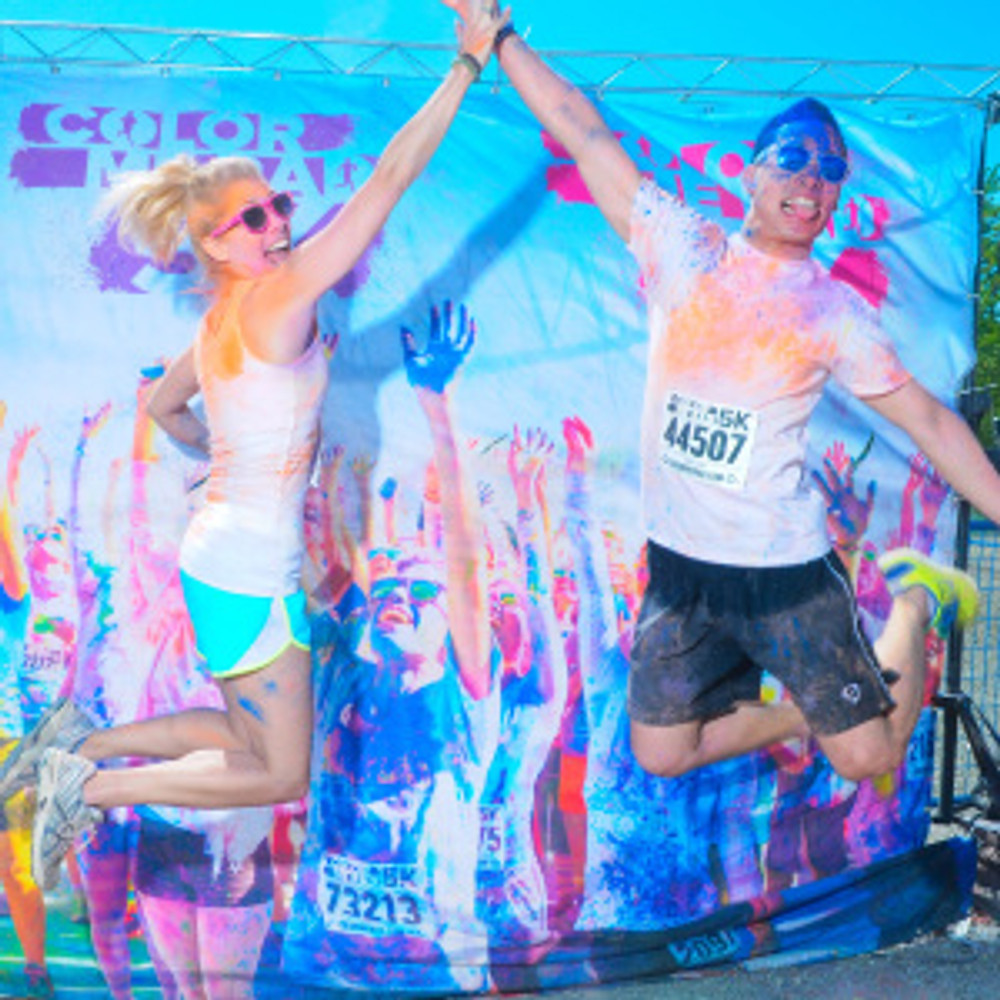My awesome Color Me Rad partner, and former rock bandmate Kevin and I post-run.