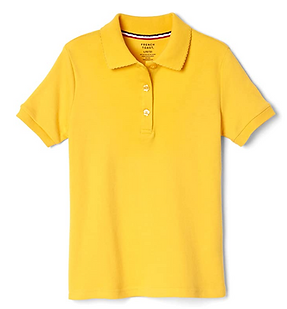 iPlanets Academy Dark Gold Short Sleeved Picot Collared Shirts for Girls