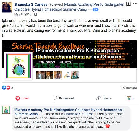 iPLANETS ACADEMY-Shameka S Carless Review