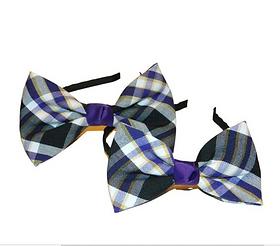 Purple, White & Black Plaid Bow Headband