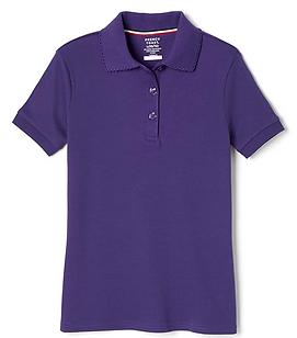 iPlanets Academy Dark Purple Short Sleeved Picot Collared Shirts for Girls