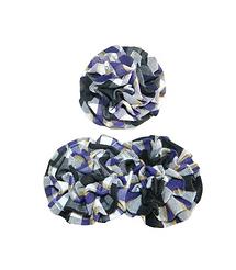 Purple, White & Black Plaid Rosette Hair