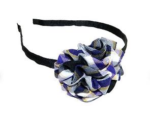 Purple, White & Black Plaid Rosette Head