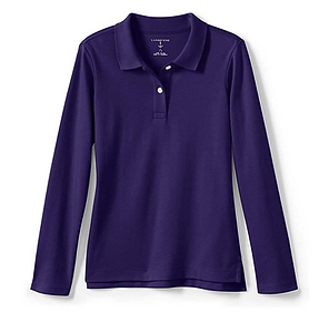 iPlanets Academy Dark Purple Long Sleeved Picot Collared Shirts for Girls