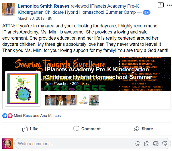 iPLANETS ACADEMY-Lemonica Smith Reaves Review