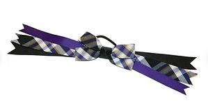 Purple, White & Black Plaid Bow Ponytail