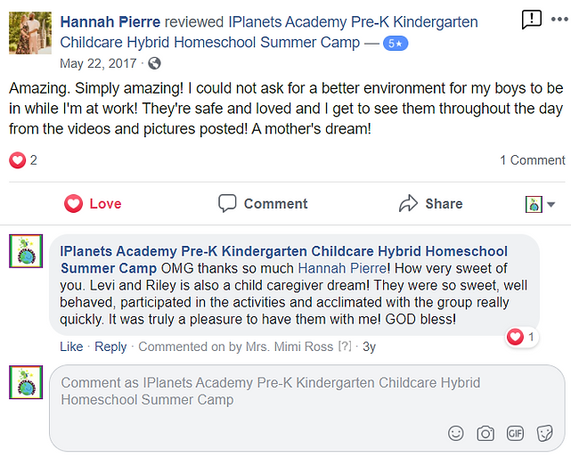 iPLANETS ACADEMY-Hannah Pierre Review