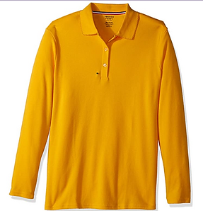 iPlanets Academy Dark Gold Long Sleeved Picot Collared Shirts for Girls