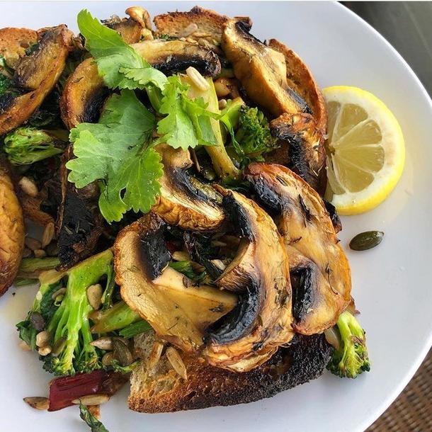 Garlicky Mushrooms on Toast with Broccoli & Greens