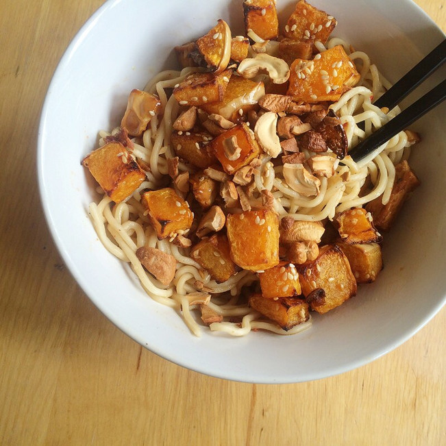 Noodles with Tofu & Roasted Sesame Squash