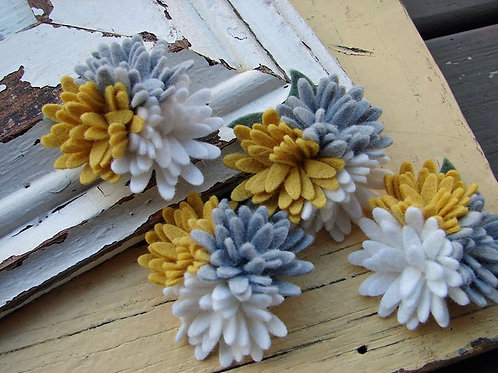 Mini Daisies Yellow & Grey Trio