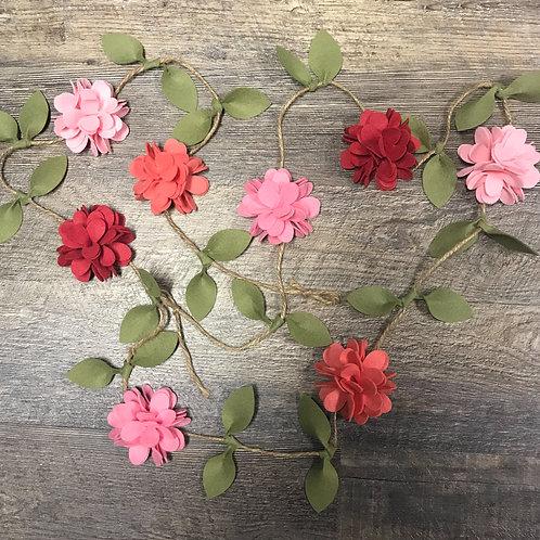 Spring Garland - Felt Flower Garland - Pink and Coral Felt