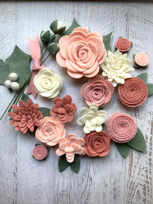 Blush Pink Loose Felt Flowers