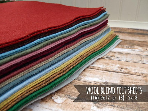 Wool Felt Fabric Sheets - You Choose Size 16 - 9x12 or 8 - 12x18