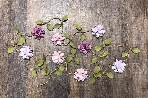 Spring Lavender Garland - Felt Flower Garland - Pink and Coral Felt