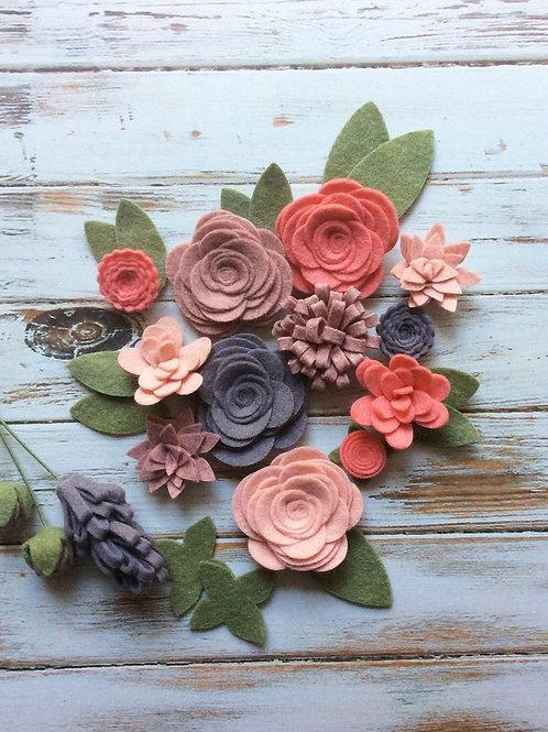 Coral Felt Flower Embellishment