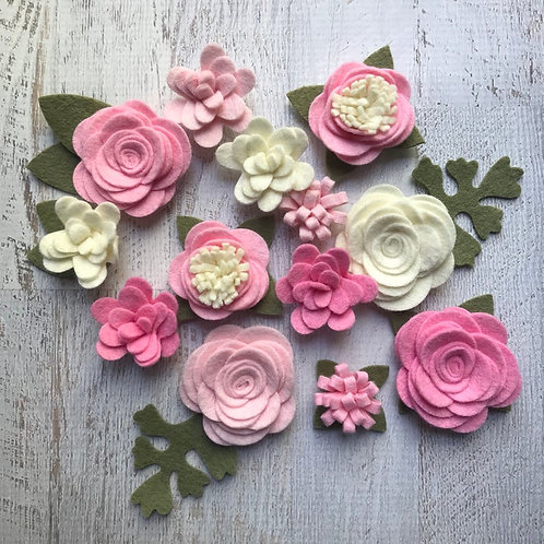 Wool Felt Fabric Flowers - Simply Pink Collection - Felt Flowers