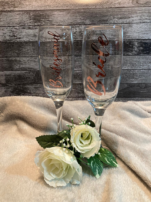 Matching Bride & Bridesmaid flutes