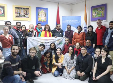 Representatives of Jai Jagat 2020 Global March at the Cultural Center