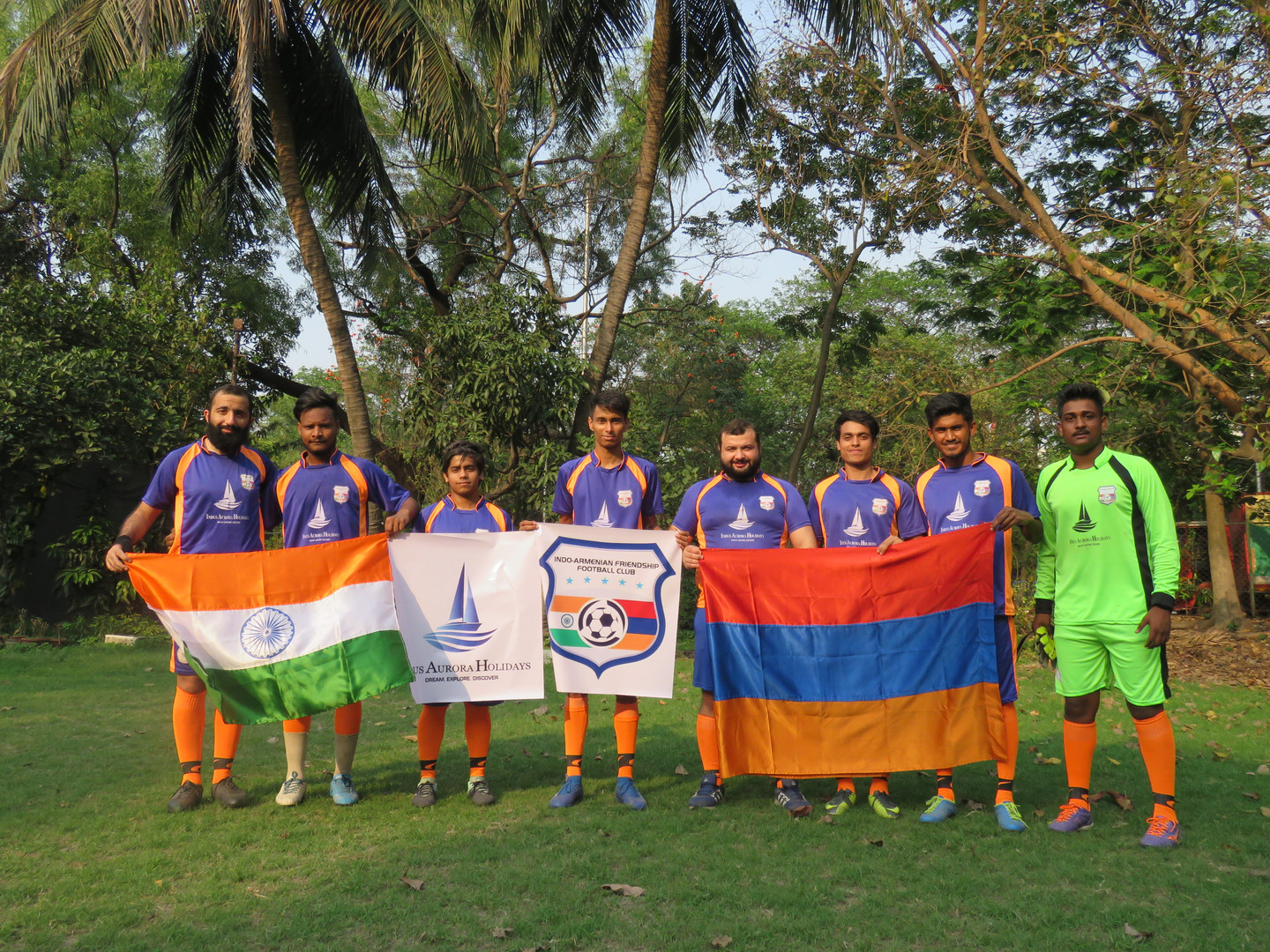 With Armenian and Indian Flags