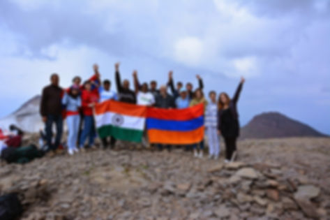 India, Armenia, Solidarity, relations Mount Aragats, Indian Flag