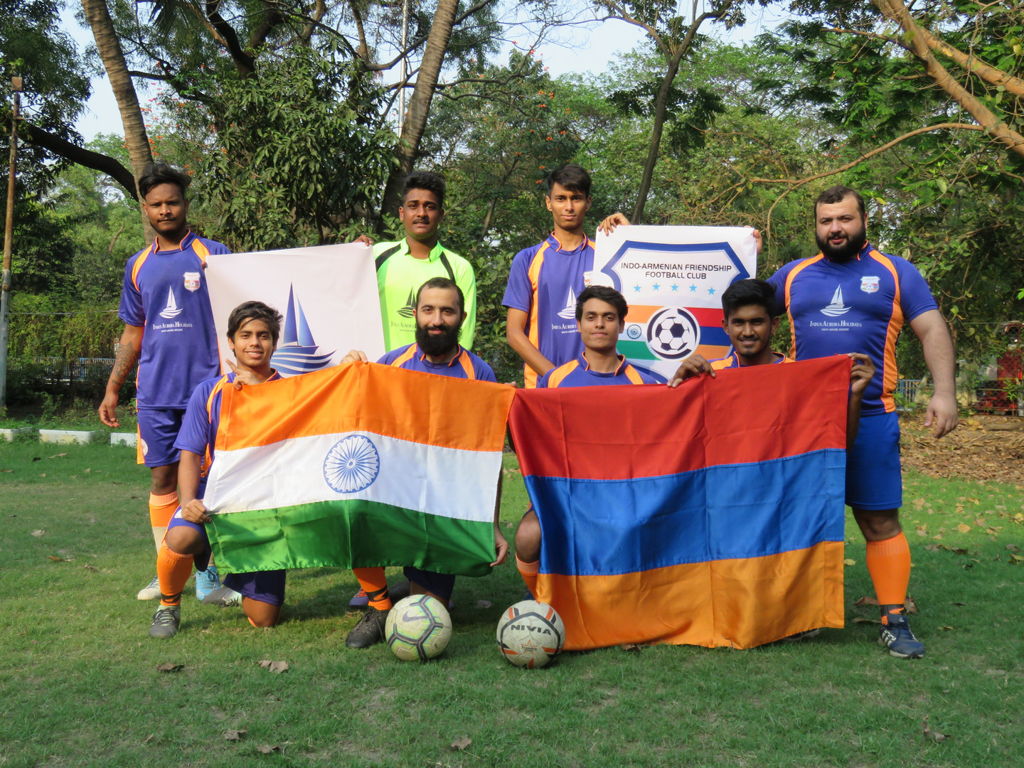 Team IAF with the flags of India and Armenia