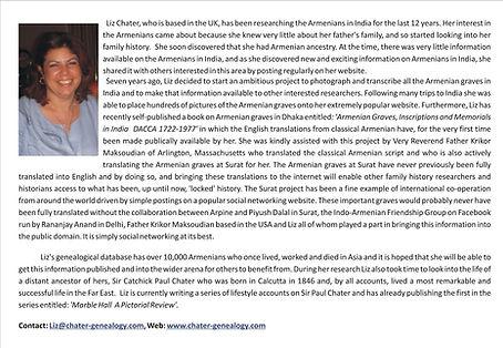 Liz Chater, Liz, Armenians in India, Geneaology, Armenians in Surat
