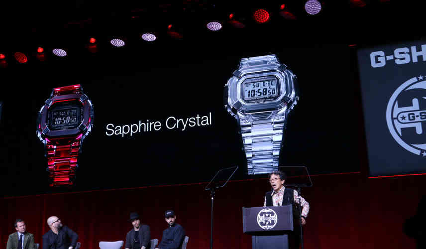 G-Shock Founder Kikuo Ibe unveiling the first-ever, sapphire crystal G-Shock.