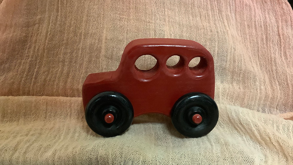 Red wooden push car