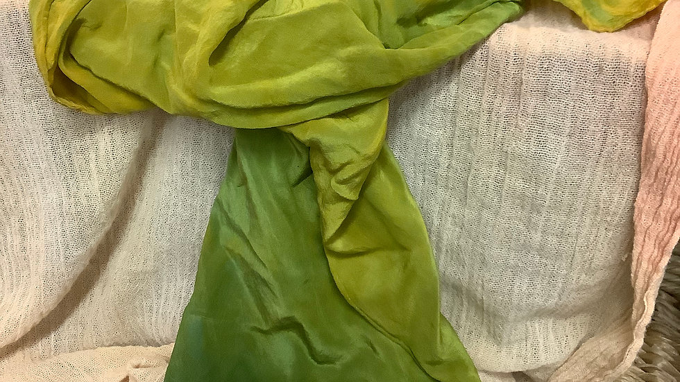 Shades of green silk scarf