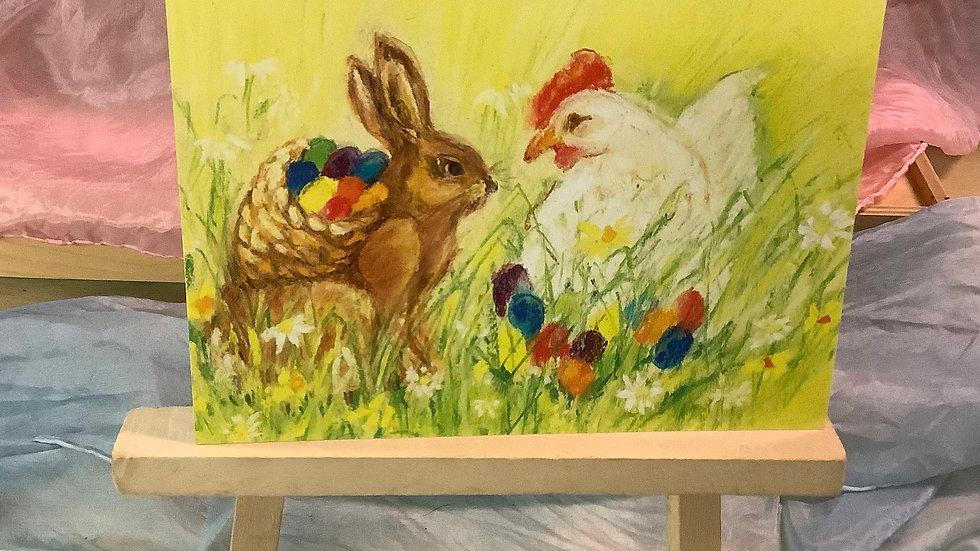 Postcard (Bunny & Hen)