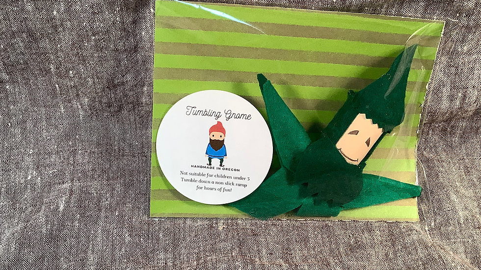 Handmade Tumbling Gnome Green