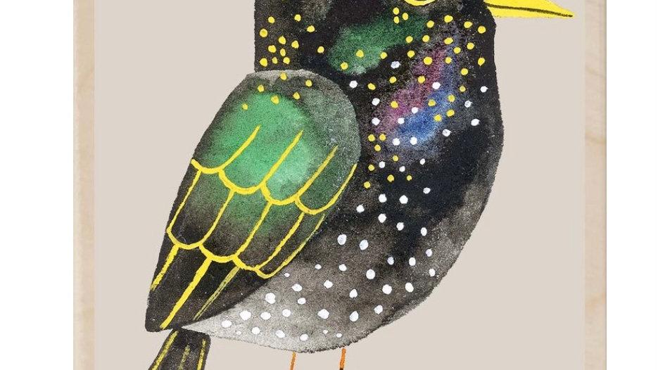 Wooden Postcard (Starling)