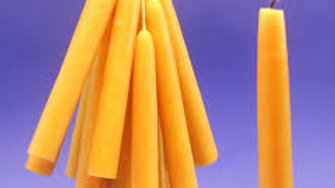 """Natural Beeswax 4"""" taper candle 1pc"""