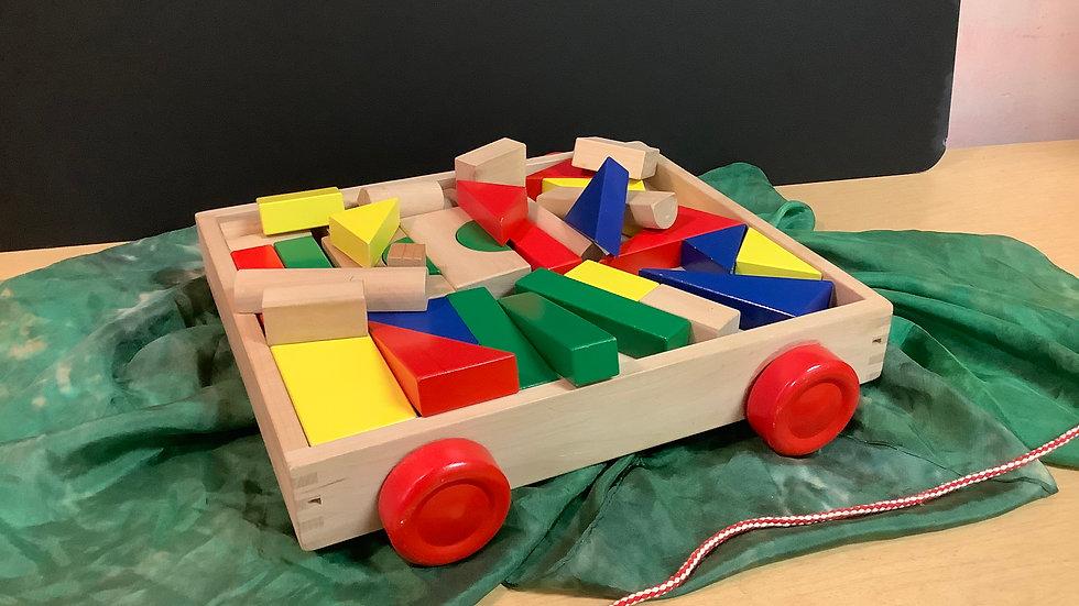 Wooden pull box of blocks