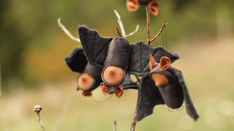 Felt hanging bat ornament