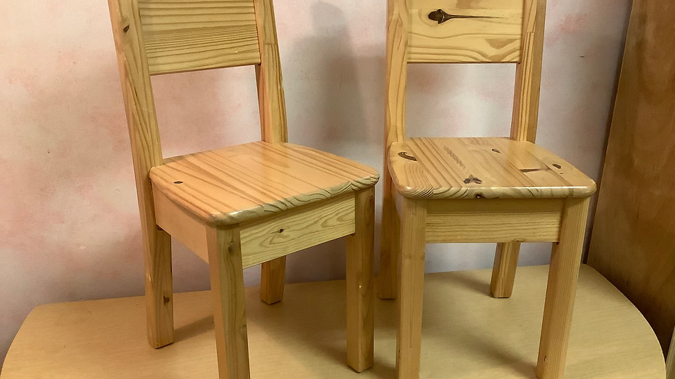 Pair of Wooden Child Chairs