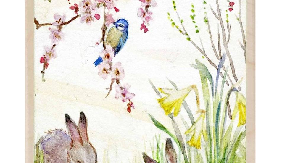 Wooden Postcard (Spring Bunnies)