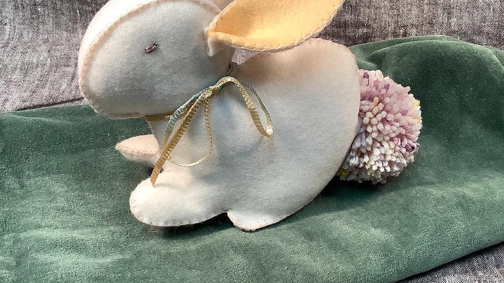 Handmade Felt White Bunny
