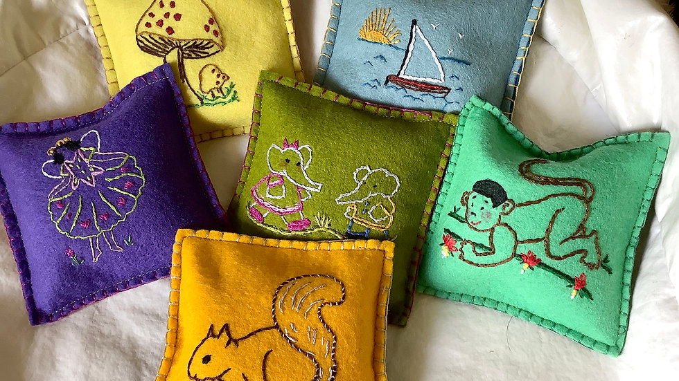 Hand embroidered felt toss bag