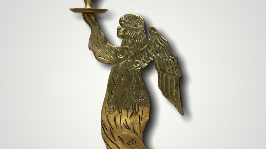 Gently Used Brass Angel candle holder