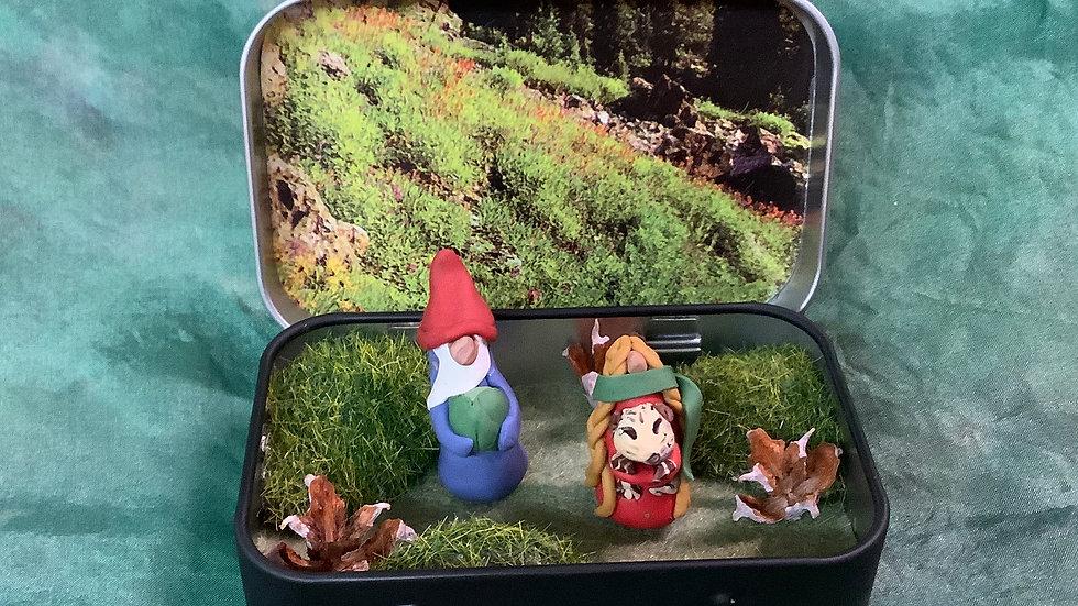 Handmade Gnome Scene in Tin box