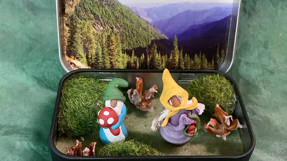 Handmade gnome scene in tin box