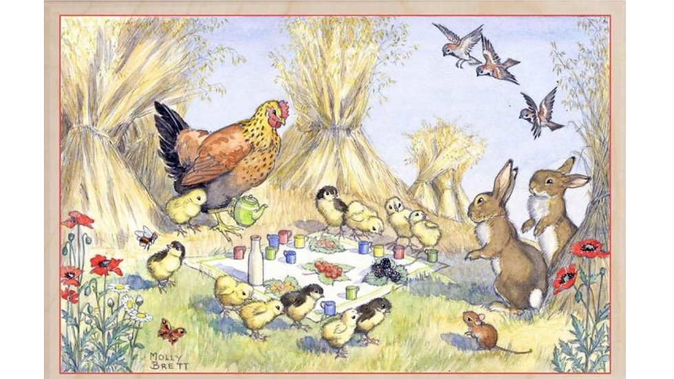 Wooden Postcard (Chick's Picnic)
