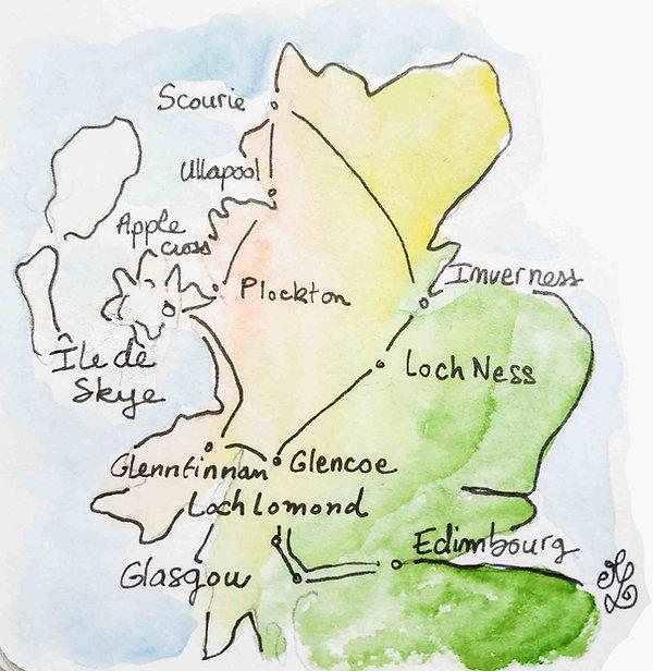 Itinéraire du road trip en Ecosse de Maëlle - Carnet de voyage en Ecosse : un roadtrip écossais illustré par les dessins de Maëlle - les plus beaux paysages d'Ecosse en dessins et en aquarelles | A Kiss from UK - Guide et blog voyage sur l'Ecosse, l'Angleterre et le Pays de Galles.
