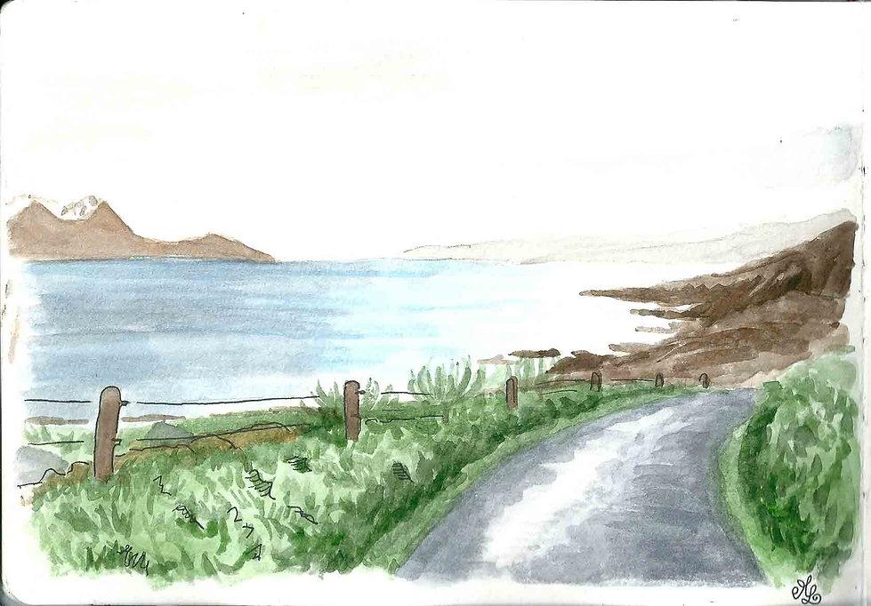 La route vers Carradale en Ecosse - Carnet de voyage en Ecosse : un roadtrip écossais illustré par les dessins de Maëlle - les plus beaux paysages d'Ecosse en dessins et en aquarelles | A Kiss from UK - Guide et blog voyage sur l'Ecosse, l'Angleterre et le Pays de Galles.