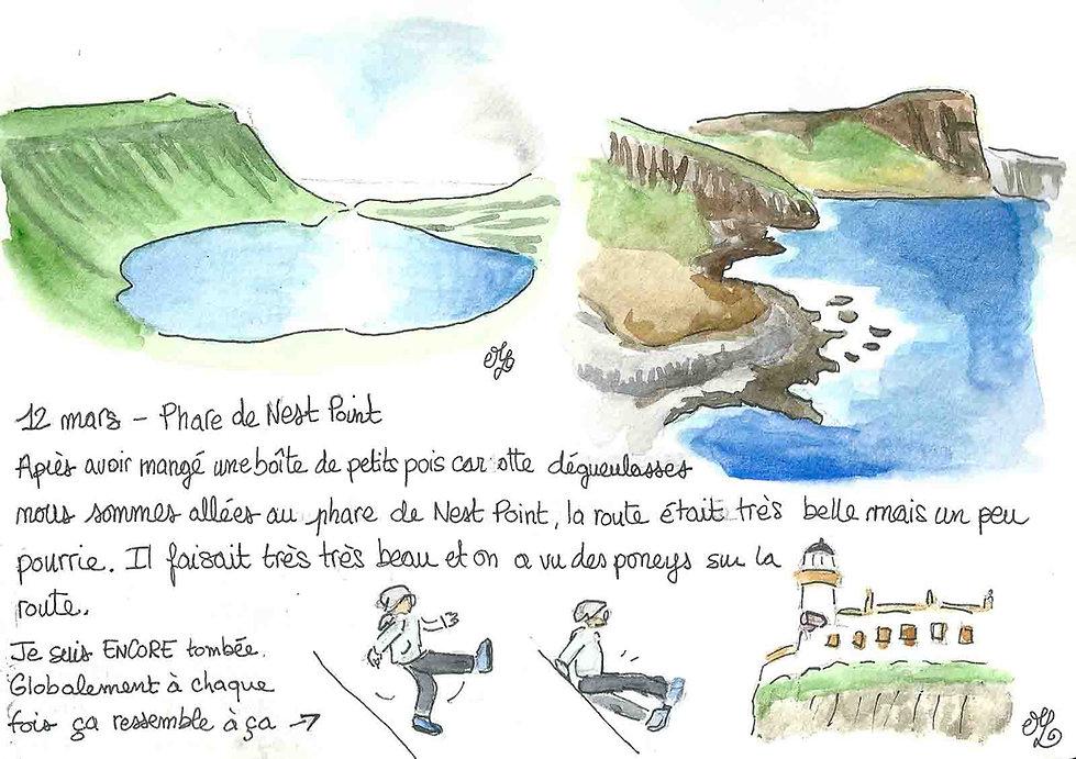 Dessin de Neist Point sur l'île de Skye - Carnet de voyage en Ecosse : un roadtrip écossais illustré par les dessins de Maëlle - les plus beaux paysages d'Ecosse en dessins et en aquarelles | A Kiss from UK - Guide et blog voyage sur l'Ecosse, l'Angleterre et le Pays de Galles.