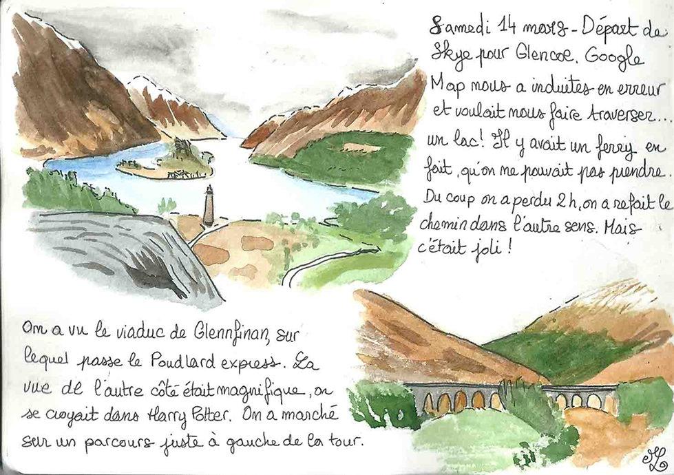 Dessin du Viaduc de Glenfinnan - Carnet de voyage en Ecosse : un roadtrip écossais illustré par les dessins de Maëlle - les plus beaux paysages d'Ecosse en dessins et en aquarelles | A Kiss from UK - Guide et blog voyage sur l'Ecosse, l'Angleterre et le Pays de Galles.