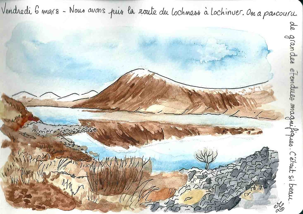 Dessin de Lochinver en Ecosse - Carnet de voyage en Ecosse : un roadtrip écossais illustré par les dessins de Maëlle - les plus beaux paysages d'Ecosse en dessins et en aquarelles | A Kiss from UK - Guide et blog voyage sur l'Ecosse, l'Angleterre et le Pays de Galles.